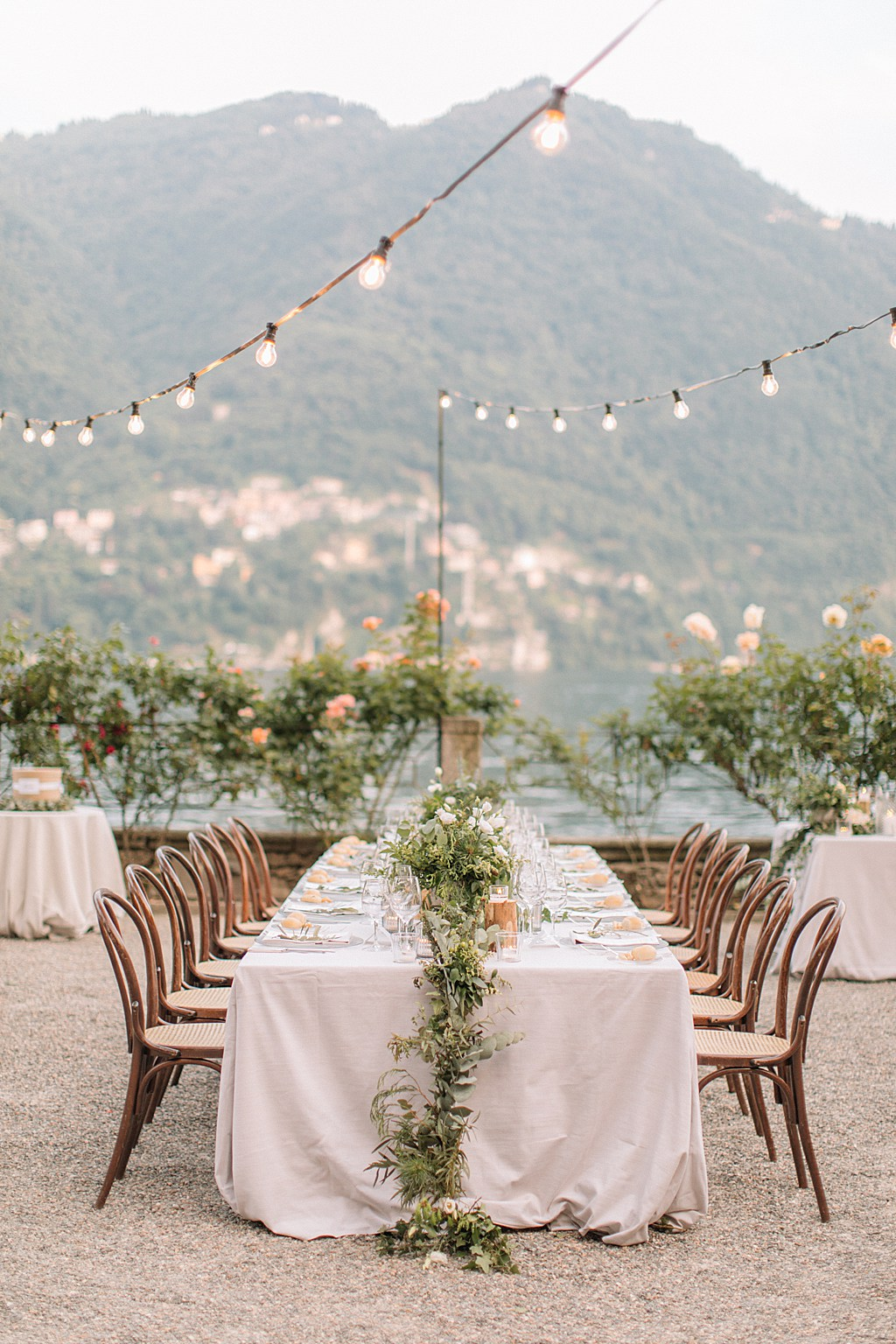 Villa Pizzo Dinner Set Up - Lake Como.