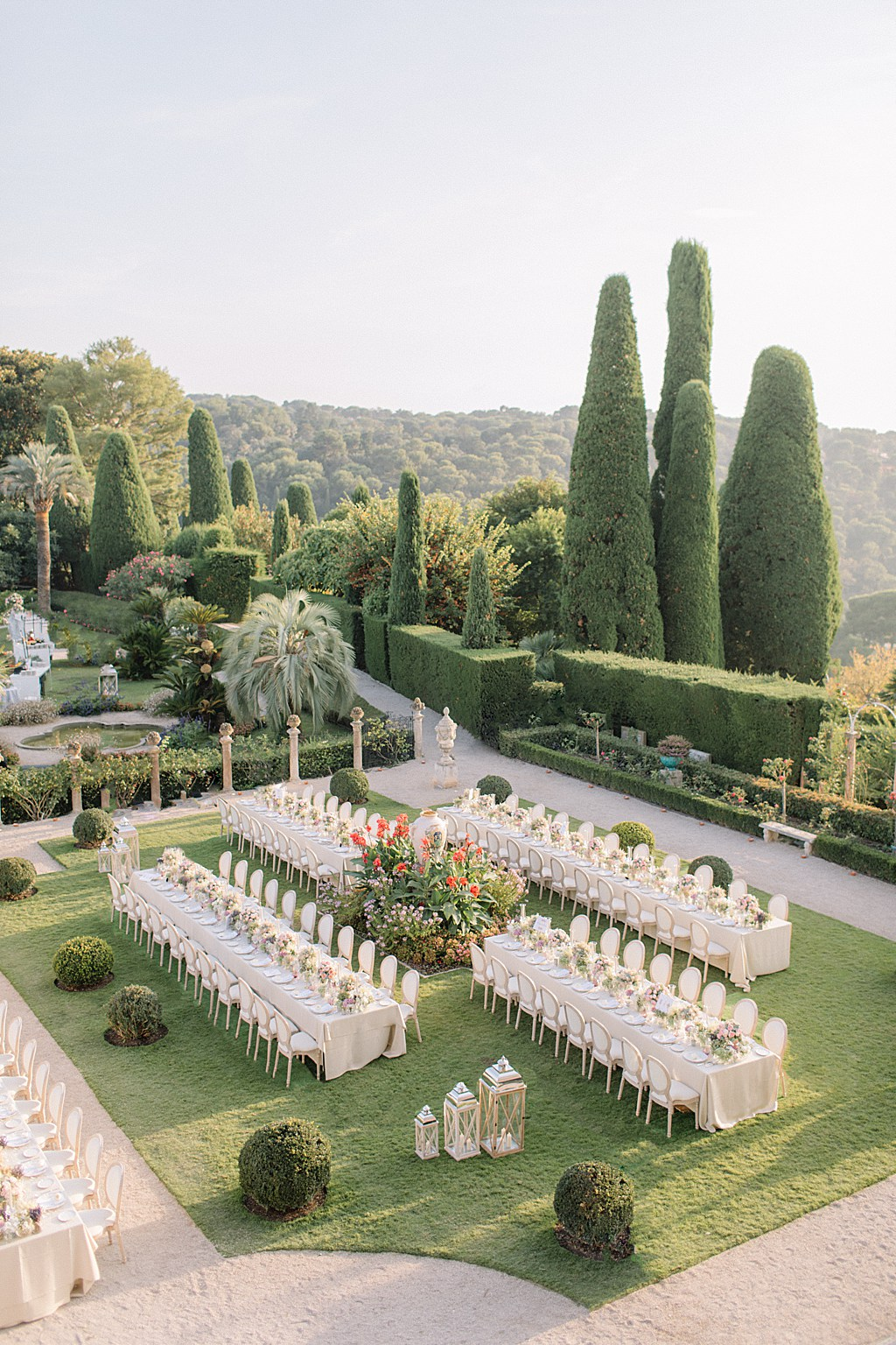 Villa Ephrussi de Rothschild Wedding Dinner Set Up Holly Clark Photography