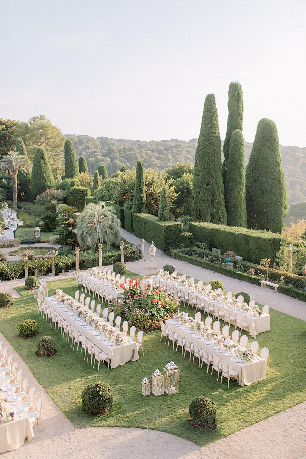Villa Ephrussi de Rothschild Wedding Dinner Set Up Holly Clark Photography
