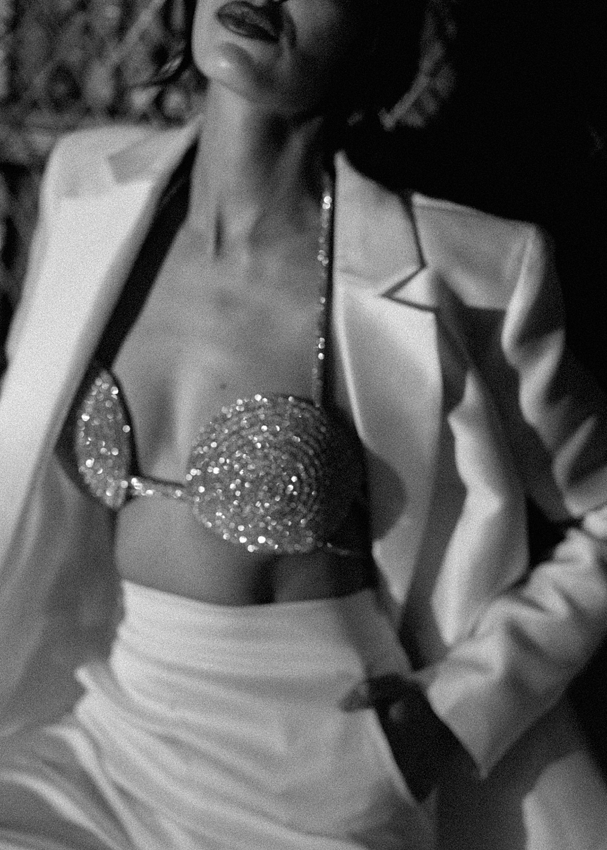 Bra: Marie Spiral bra fromNue Studio. Suit: cutting edge blazer + cigarette pantsKaviar Gauche